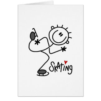Simple Stick Figure Ice Skating T-shirts and Gifts Card