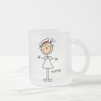 Simple Stick Figure Nurse Tshirts and Gifts Frosted Glass Mug