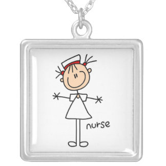 Simple Stick Figure Nurse Tshirts and Gifts Silver Plated Necklace