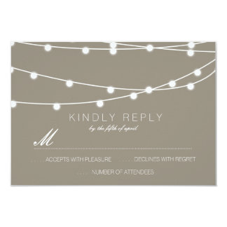 Simple String of Lights Wedding RSVP   Wedding 9 Cm X 13 Cm Invitation Card
