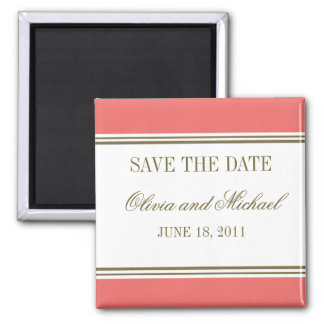 Simple Stripe Coral Save the Date Magnet