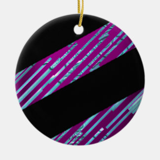 simple stripes Double-Sided ceramic round christmas ornament