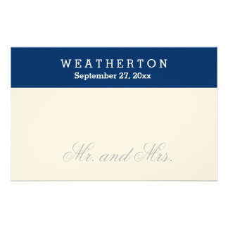 Simple Style Mr. and Mrs. Wedding Names Date A27 Stationery
