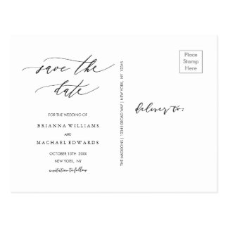 Simple Stylish Calligraphy Save the Date Photo Postcard