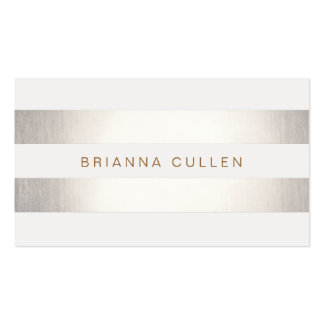 Simple Stylish FAUX Silver and White Striped Pack Of Standard Business Cards