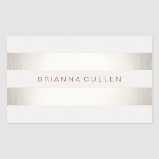 Simple Stylish FAUX Silver and White Striped Rectangular Sticker