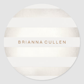 Simple Stylish FAUX Silver and White Stripes 2 Round Sticker