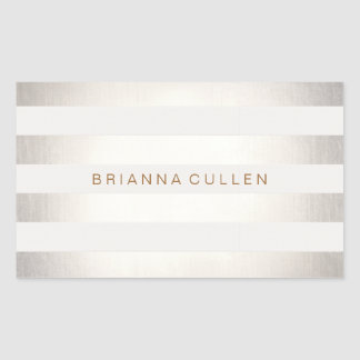 Simple Stylish FAUX Silver and White Stripes Rectangular Sticker