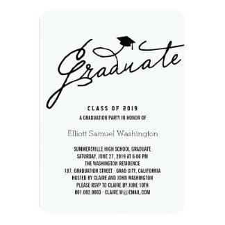 "Simple & Stylish Graduate Graduation Party Invite 5"" X 7"" Invitation Card"