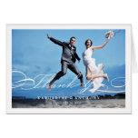 Simple Stylish Thank You Script Wedding Photo Card
