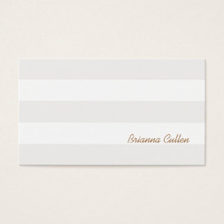 Simple Subtle Neutral Striped Elegant White Business Card