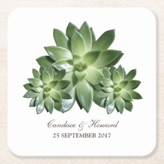 Simple Succulent Wedding Paper Coasters