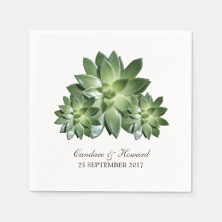 Simple Succulent Wedding Paper Napkins
