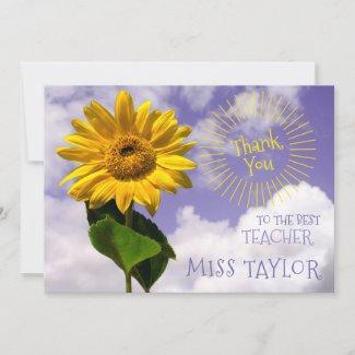 Simple Sunflower and Sunrays Thanks Rustic Teacher Thank You Card