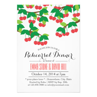 Simple Sweet Cherry Tree Rehearsal Dinner Card
