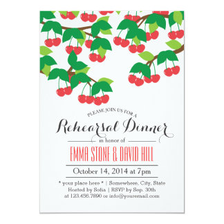 Simple Sweet Cherry Tree Rehearsal Dinner 5x7 Paper Invitation Card