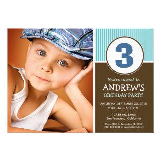 Simple Sweet Chocolate Blue Birthday Invite