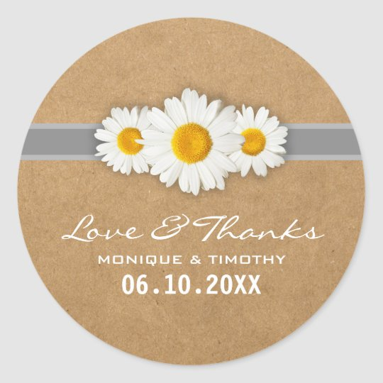Simple Sweet Daisy Wedding Seal Sticker Thank You