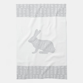 Simple, Sweet Gray Easter Bunny Rabbit Kitchen Tea Towel