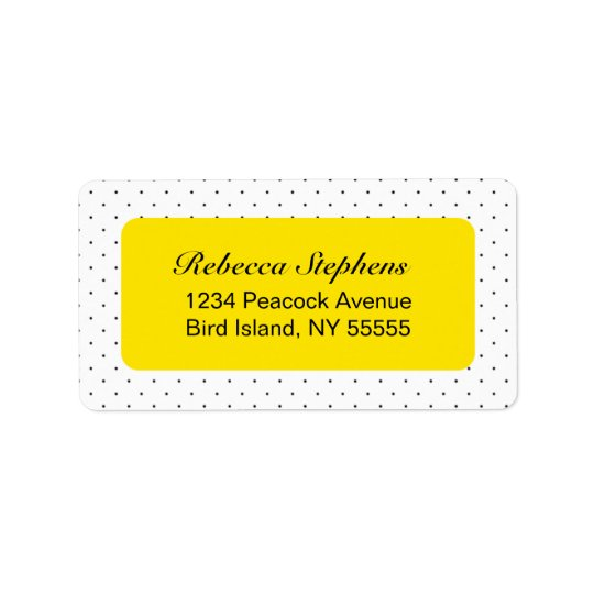 Simple Sweet Polka Dot- Yellow and Black Address Label