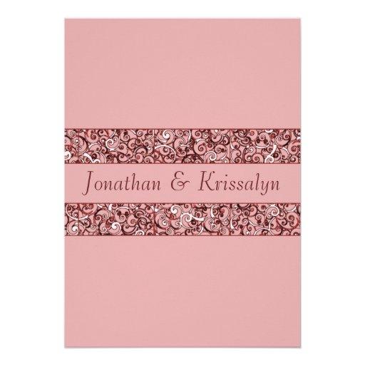Simple Swirl Red and Pink Custom Wedding Custom Invite