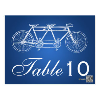 Simple Table Number Tandem Bike Blue Postcard
