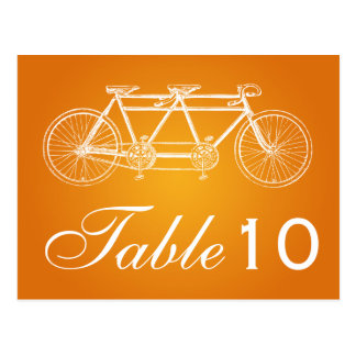 Simple Table Number Tandem Bike Orange Postcard