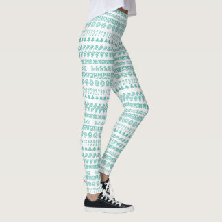 Simple Teal and White Rows Christmas Pattern Leggings