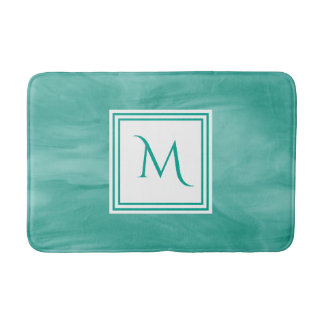 Simple Teal Green Subtle Marble Modern Monogram Bath Mat