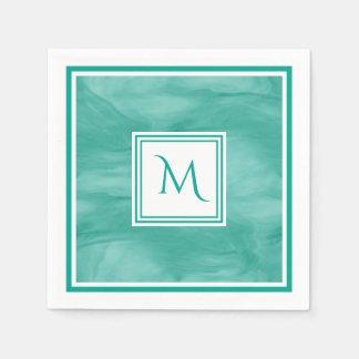 Simple Teal Green Subtle Marble Modern Monogram Disposable Serviette