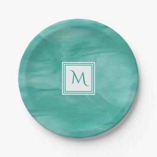 Simple Teal Green Subtle Marble Modern Monogram Paper Plate
