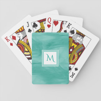 Simple Teal Green Subtle Marble Modern Monogram Playing Cards