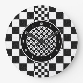 Simple textured checkerboard large clock