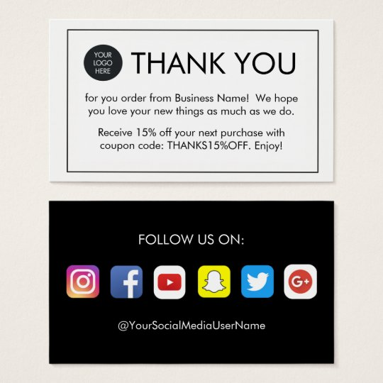 Simple Thank You For Your Order Business Cards Zazzle Co Uk