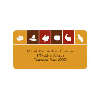 Simple Thanksgiving Icons Address Label