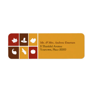 Simple Thanksgiving Icons Return Address Label