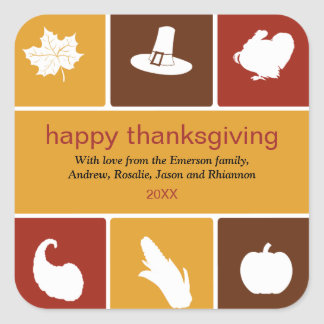 Simple Thanksgiving Icons Sticker