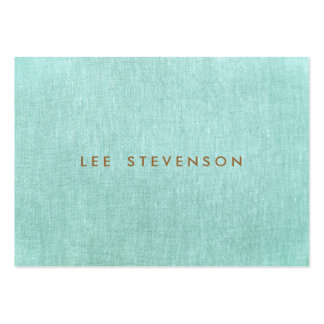 Simple, Turquoise Blue, Linen Look, Minimalist Pack Of Chubby Business Cards