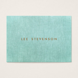 Simple, Turquoise Blue, Linen Look, Minimalist Business Card