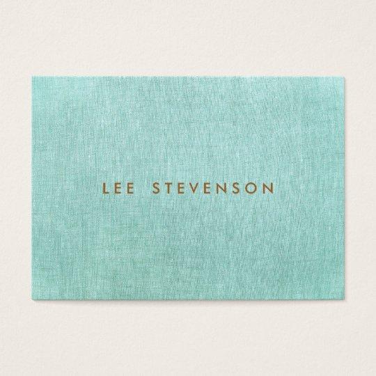Simple, Turquoise Blue, Linen Look, Minimalist Business Card