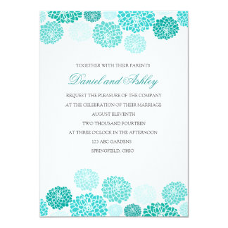 Simple Turquoise Garden Wedding 11 Cm X 16 Cm Invitation Card