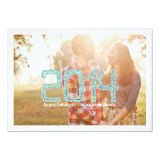 Simple Turquoise Glitter | Holiday Photo Cards 13 Cm X 18 Cm Invitation Card