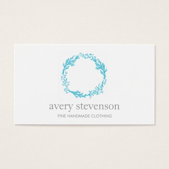 Simple Turquoise Hand Drawn Wreath Logo Nature Business Card