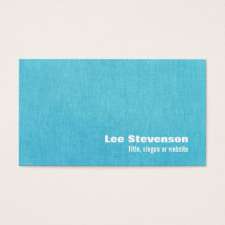 Simple Turquoise Linen Look Business Card