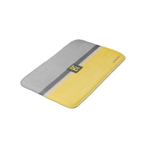 Simple Two Tone Yellow and Grey Initials Monogram Bath Mat