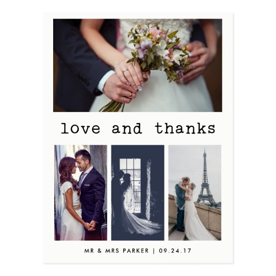 Simple Typewriter Text Wedding Thank You | 4 Photo Postcard