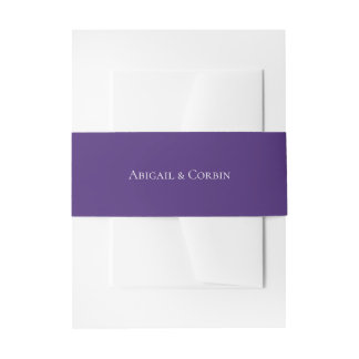 Simple Ultra Violet Personalized Wedding Invitation Belly Band