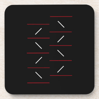 Simple & Unique Line Pattern In Red, Black & White Coaster
