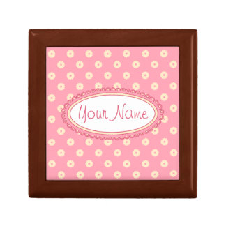 Simple Vector Daisy Flowers in Yellow on Pink Gift Box
