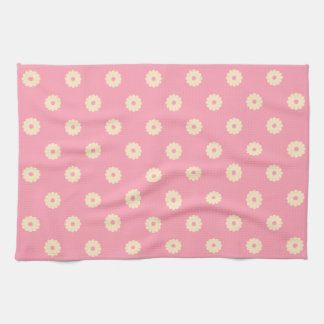 Simple Vector Daisy Flowers in Yellow on Pink Tea Towel